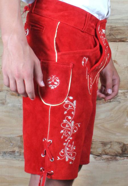 trachten lederhose kurz rot lederhosen mit smartphone tasche gr 44 56 r01 ebay. Black Bedroom Furniture Sets. Home Design Ideas